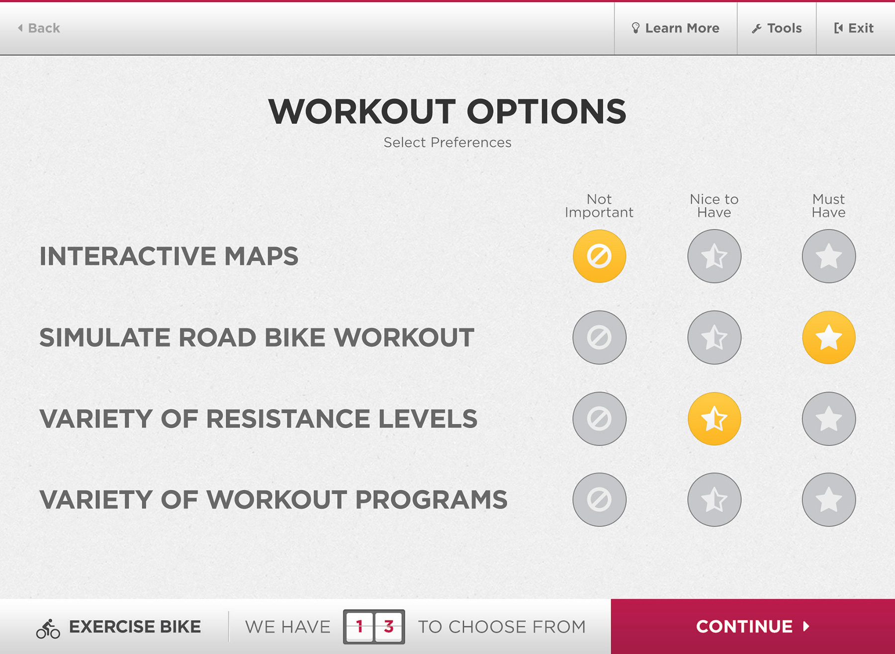 The screen of the sales app that allows the salesperson to input the customer's workout preferences