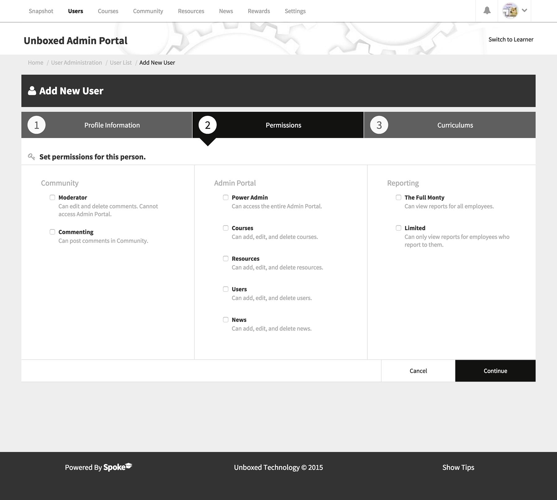 The Spoke admin portal